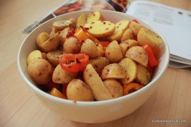Receta de Papas al horno con chile y vegetales y la escala Scoville